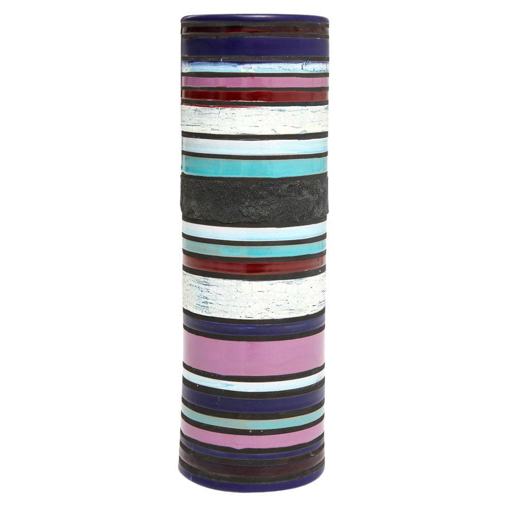Bitossi for Raymor Cambogia Vase, Ceramic, Blue, Purple, White, Stripes, Signed