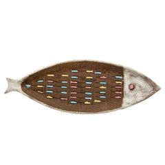 Bitossi for Raymor Fish Tray, Ceramic, Brown and White, Signed