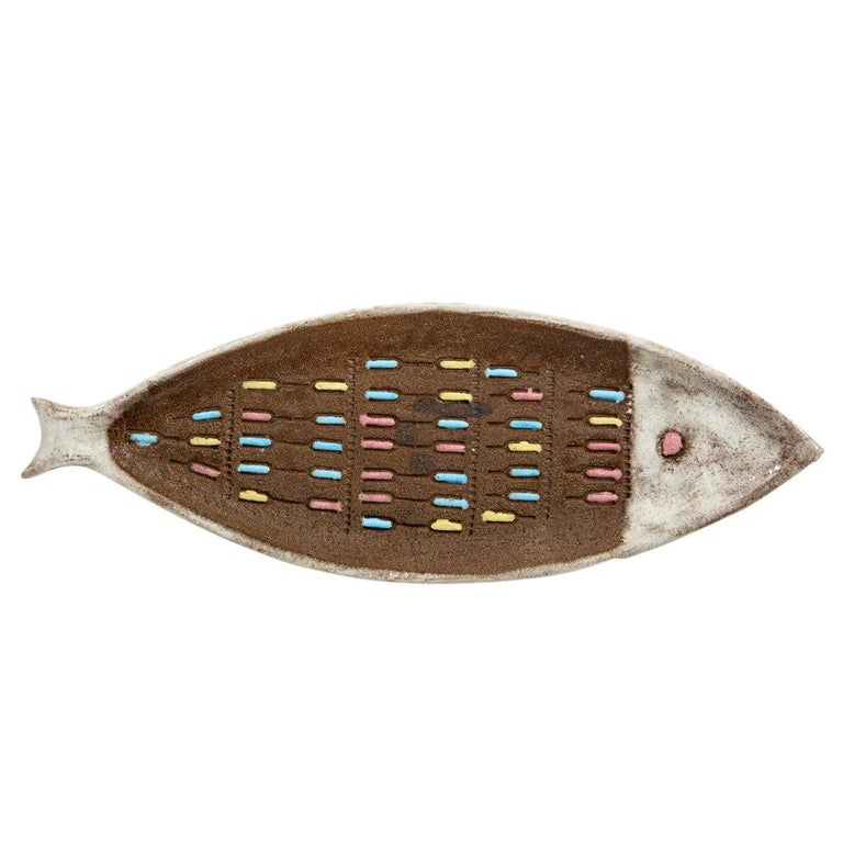 Bitossi for Raymor Fish Tray, Ceramic, Brown and White, Signed For Sale