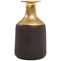 Bitossi for Raymor Vase, Ceramic, Gold and Matte Brown, Signed