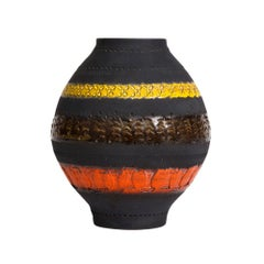 Bitossi for Raymor Vase, Ceramic, Matte Black, Yellow and Orange, Signed