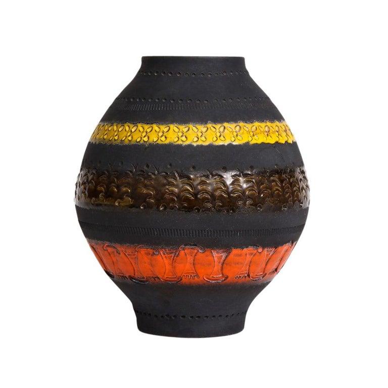 Bitossi for Raymor Vase, Ceramic, Matte Black, Yellow and Orange, Signed For Sale