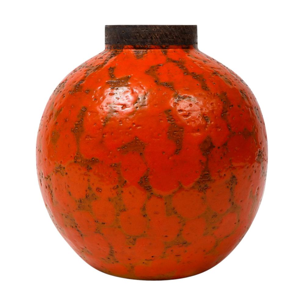 Bitossi for Raymor Vase, Ceramic, Orange and Brown, Signed