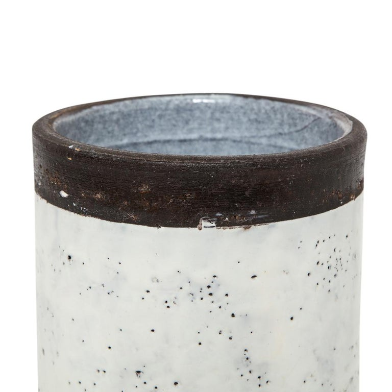 Bitossi for Raymor Vase, Ceramic, White and Brown, Signed For Sale 7
