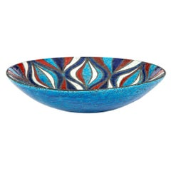 Bitossi for Rosenthal Netter Bowl, Ceramic, Blue Red, and White Onion Pattern