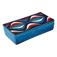 Bitossi for Rosenthal Netter Box, Ceramic, Blue, Red, and White, Onion, Signed