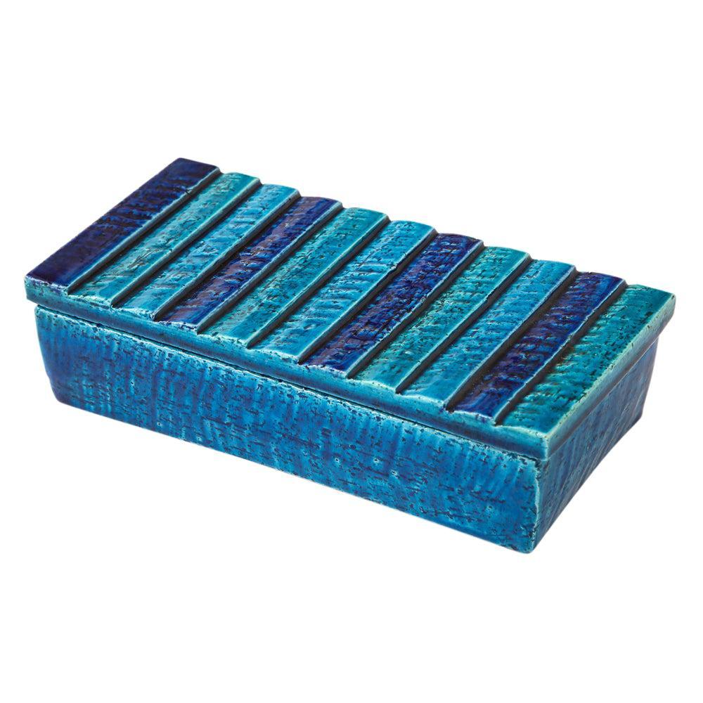 Bitossi for Rosenthal Netter Box, Ceramic, Blue Stripes, Signed
