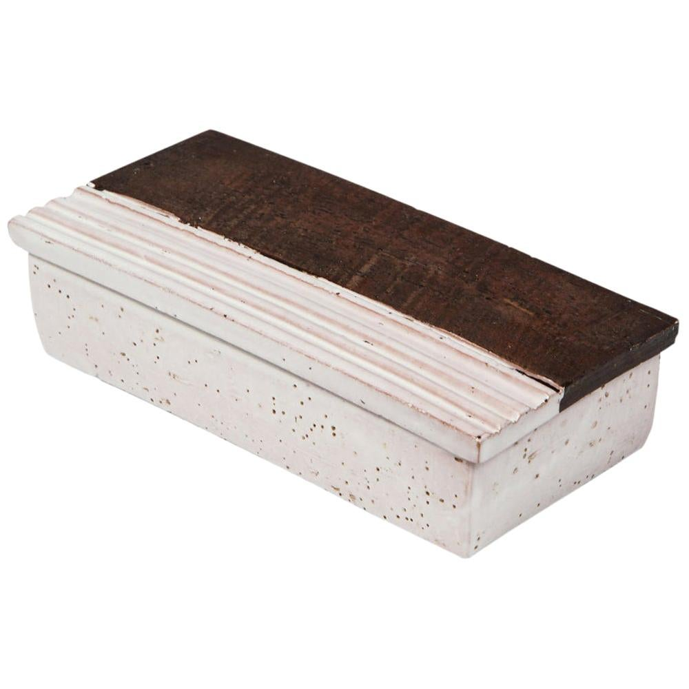 Bitossi for Rosenthal Netter Box, Ceramic, Brown, White, Ridges, Signed
