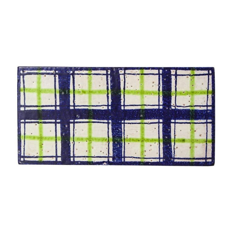 Bitossi for Rosenthal Netter Box, Ceramic, Navy Blue, Green and White, Plaid For Sale 3