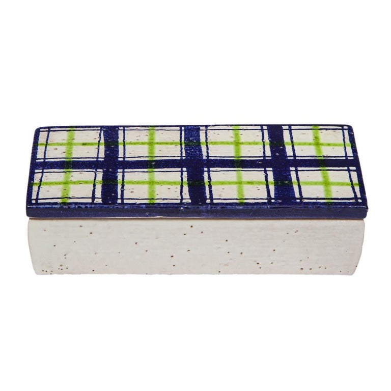Bitossi for Rosenthal netter box, ceramic, navy blue, green and white, plaid. Small scale lidded ceramic box with navy, white and green glazed top and white glazed bottom. Tiny glaze miss on edge of one side of the lid. Minute wear to inner box