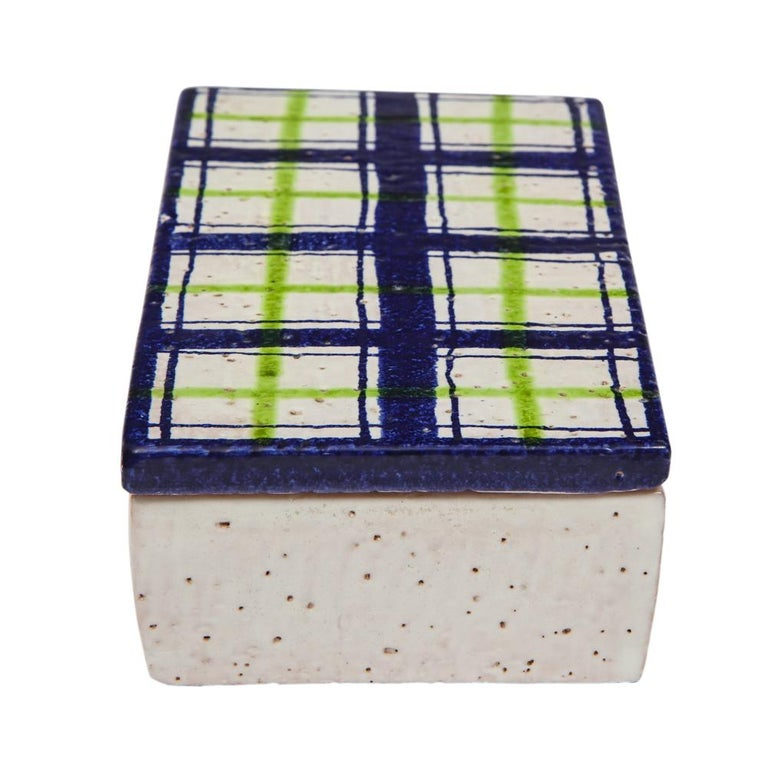 Italian Bitossi for Rosenthal Netter Box, Ceramic, Navy Blue, Green and White, Plaid For Sale