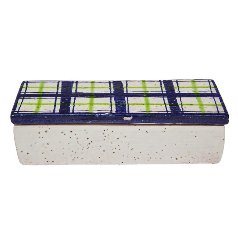 Glazed Bitossi for Rosenthal Netter Box, Ceramic, Navy Blue, Green and White, Plaid For Sale