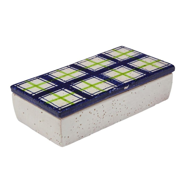 Bitossi for Rosenthal Netter Box, Ceramic, Navy Blue, Green and White, Plaid In Good Condition For Sale In New York, NY