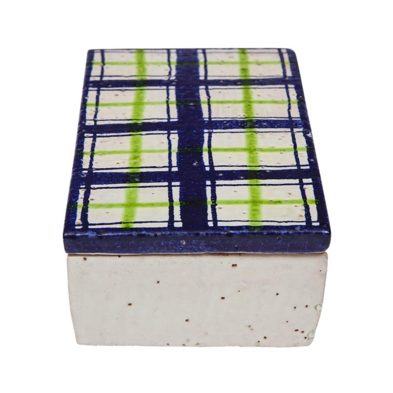 Mid-20th Century Bitossi for Rosenthal Netter Box, Ceramic, Navy Blue, Green and White, Plaid For Sale