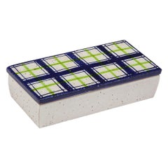 Bitossi for Rosenthal Netter Box, Ceramic, Navy Blue, Green and White, Plaid