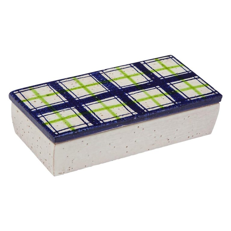 Bitossi for Rosenthal Netter Box, Ceramic, Navy Blue, Green and White, Plaid For Sale