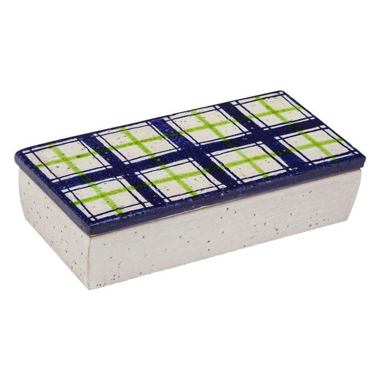 Bitossi for Rosenthal Netter Box, Ceramic, Navy Blue, Green, White, Plaid For Sale