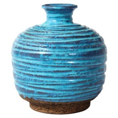 Bitossi for Rosenthal Netter Vase, Ceramic, Blue and Brown, Ribbed