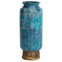 Bitossi for Rosenthal Netter Vase, Ceramic, Blue and Gold, Cinese, Signed