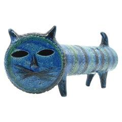 Bitossi 'Gatto' Cylinder Cat Rimini Blue Aldo Londi Italy, circa 1968