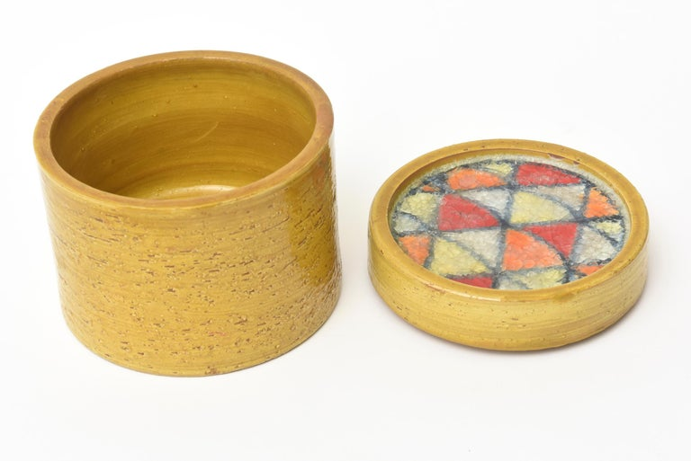 Mid-Century Modern Bitossi Glazed Ceramic Lidded Box with Fused Glass Mosaic Top Vintage For Sale