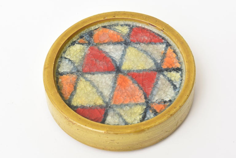 Bitossi Glazed Ceramic Lidded Box with Fused Glass Mosaic Top Vintage In Good Condition For Sale In North Miami, FL