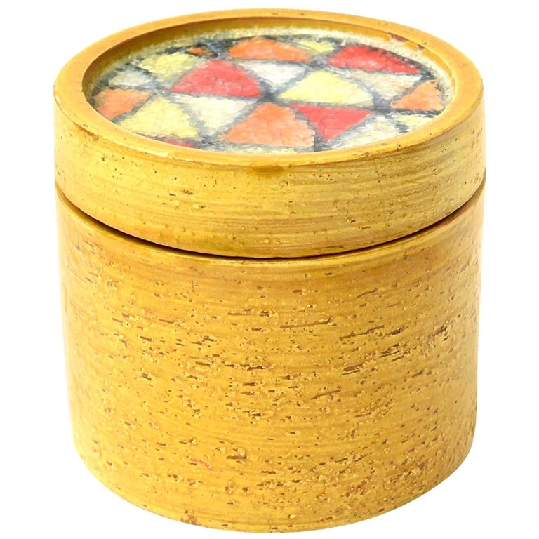 Bitossi Glazed Ceramic Lidded Box with Fused Glass Mosaic Top Vintage For Sale