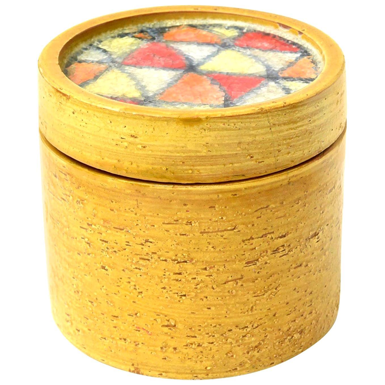 Bitossi Glazed Mustard Ceramic Lidded Box with Fused Glass Mosaic Top Vintage