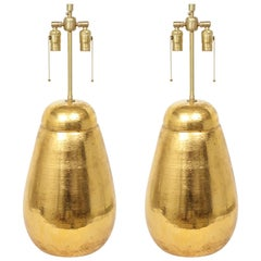 Large Scale, Bitossi Gold Glazed Terracotta Lamps