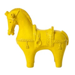 Large Bitossi Horse, Ceramic, Yellow, Signed