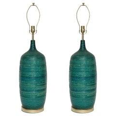 Bitossi Incised Jade Green Ceramic Lamps