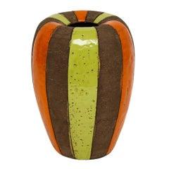 Bitossi Italian Ceramic Vase Stripes Signed, Italy, 1960s