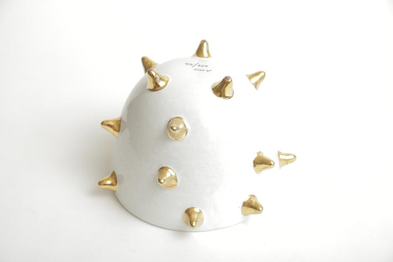 Bitossi Italian Glazed Ceramic White Bowl with Gold Ceramic Spikes Vintage For Sale 5