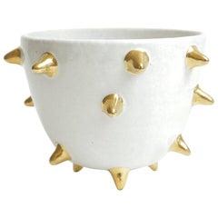 Bitossi Italian Glazed Ceramic White Bowl with Gold Ceramic Spikes Vintage