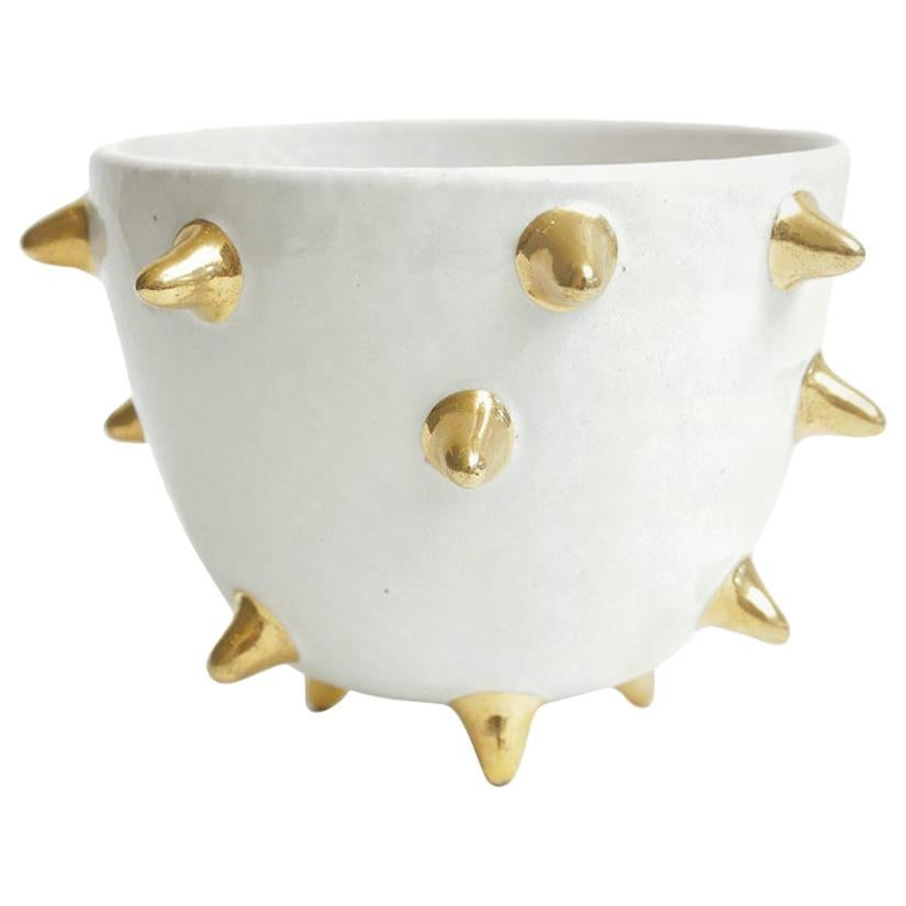 Bitossi Italian Glazed Ceramic White Bowl with Gold Ceramic Spikes Vintage