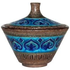 Bitossi Italian Pottery Raymor Jar and Cover Vintage Rimini Blue Londi Ceramic