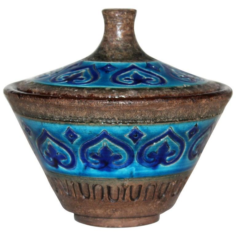 Bitossi Italian Pottery Raymor Jar and Cover Vintage Rimini Blue Londi Ceramic For Sale