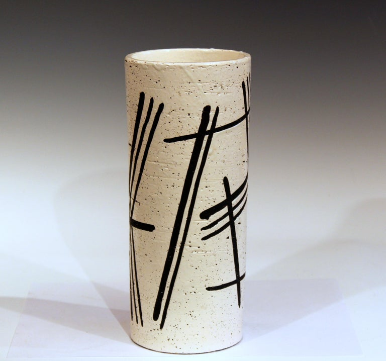 Bitossi vase in black and white abstracted chopsticks decor, circa 1960s. 12 3/8