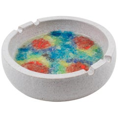 Bitossi Italy for Raymor Glaze Ceramic Ashtray Bowl Glass Mosaic