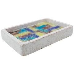 Bitossi Italy Raymor Ceramic Ashtray Bowl Fritte Colorful Fused Glass Mosaic