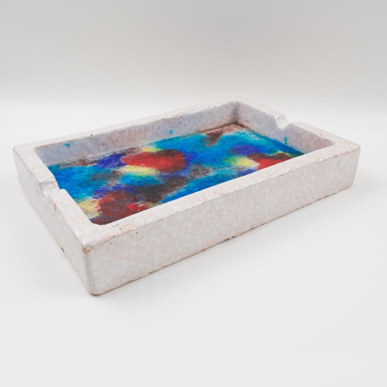 Bitossi Italy Raymor Ceramic Ashtray Bowl Fritte Fused Glass Mosaic MCM Colors For Sale 6