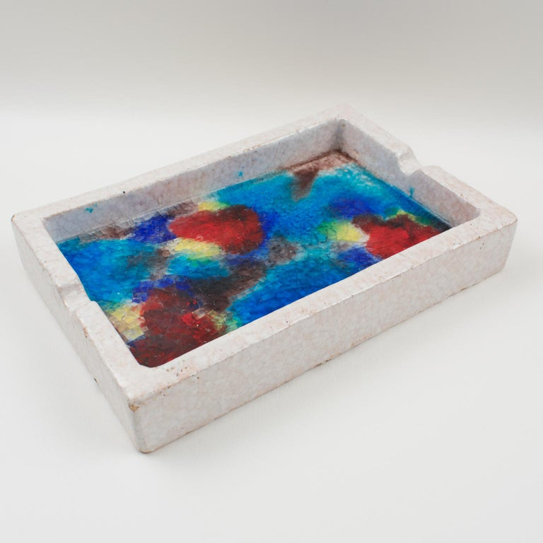 Bitossi Italy Raymor Ceramic Ashtray Bowl Fritte Fused Glass Mosaic MCM Colors For Sale 7