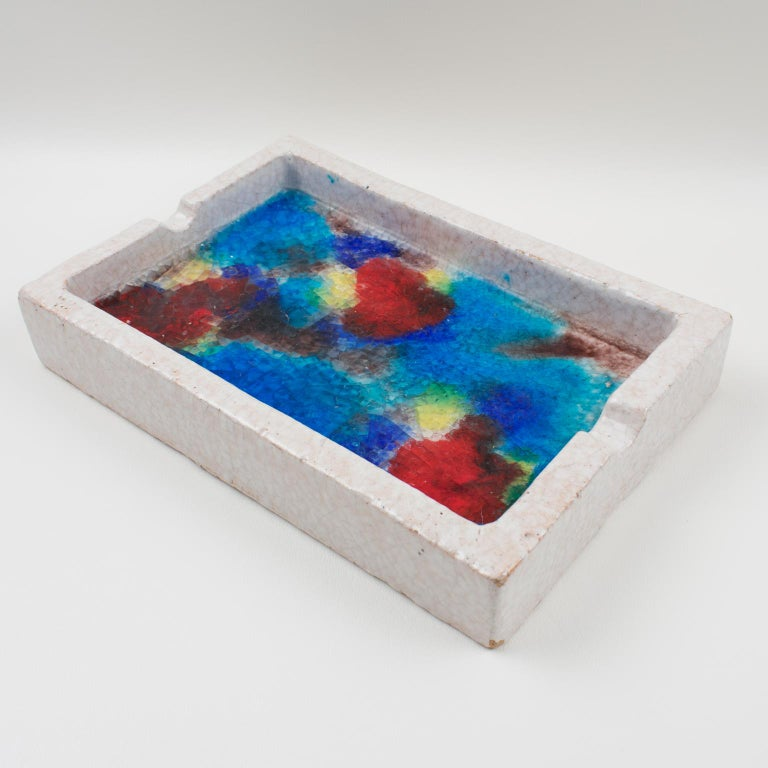 Bitossi Italy Raymor Ceramic Ashtray Bowl Fritte Fused Glass Mosaic MCM Colors For Sale 8