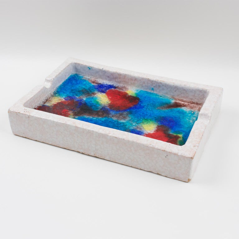 Mid-Century Modern Bitossi Italy Raymor Ceramic Ashtray Bowl Fritte Fused Glass Mosaic MCM Colors For Sale