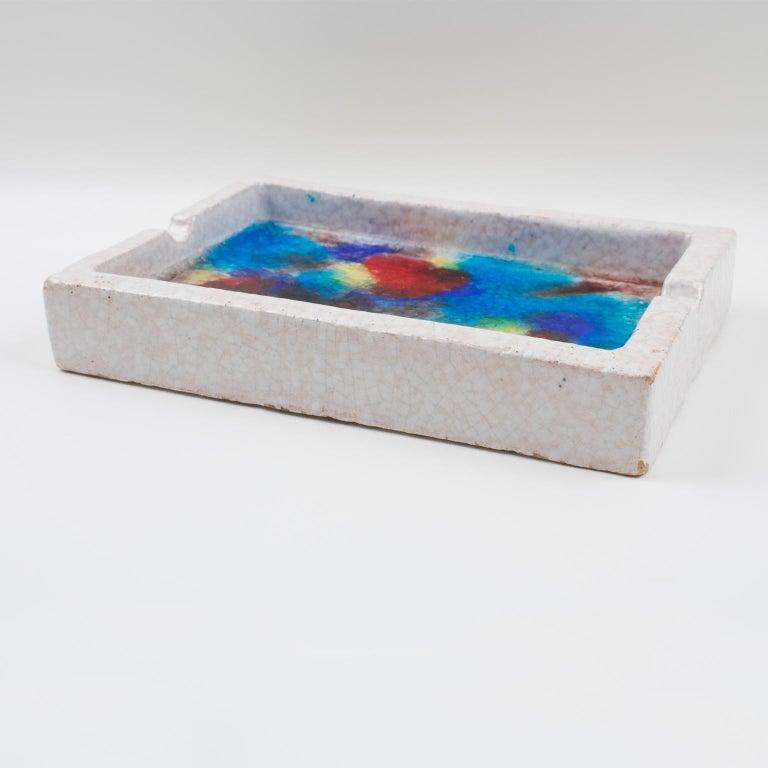 Italian Bitossi Italy Raymor Ceramic Ashtray Bowl Fritte Fused Glass Mosaic MCM Colors For Sale
