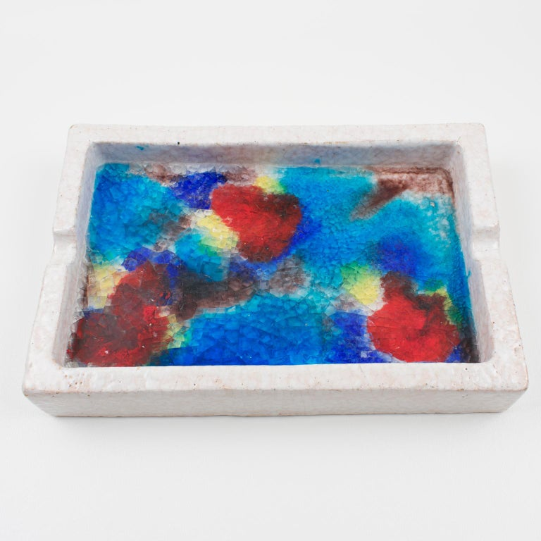 Bitossi Italy Raymor Ceramic Ashtray Bowl Fritte Fused Glass Mosaic MCM Colors In Good Condition For Sale In Atlanta, GA