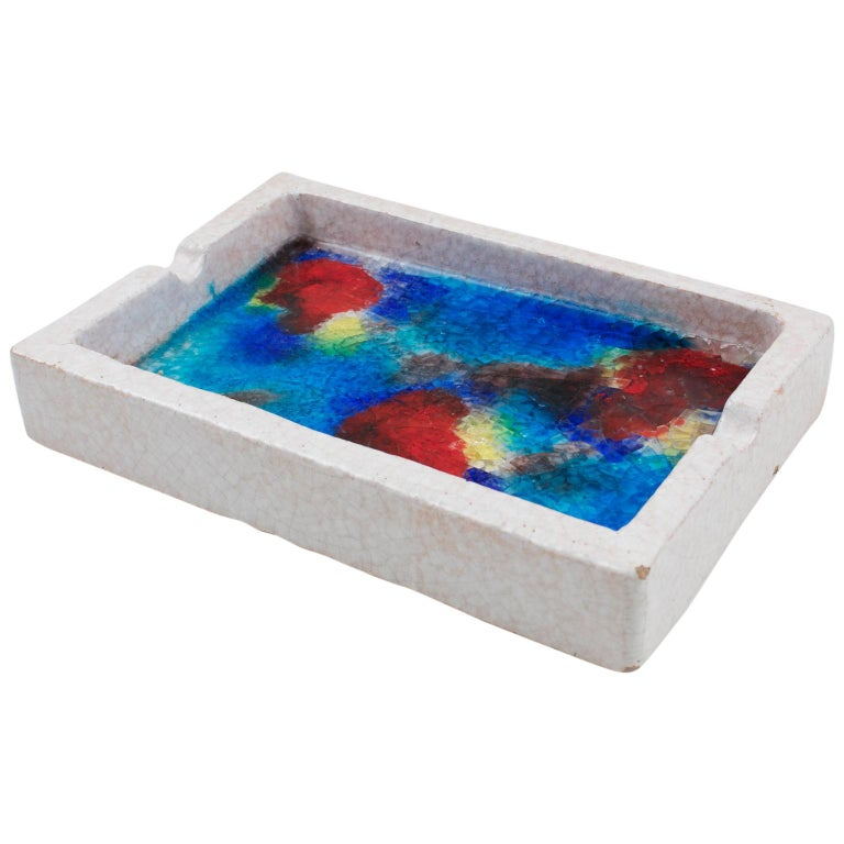 Bitossi Italy Raymor Ceramic Ashtray Bowl Fritte Fused Glass Mosaic MCM Colors For Sale
