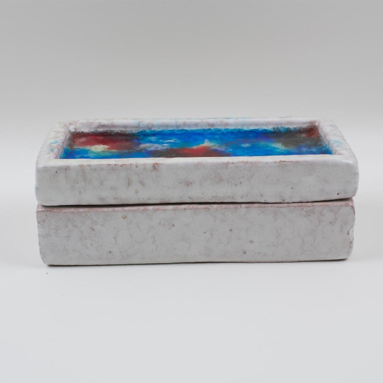 Bitossi Italy Raymor Ceramic Box Fritte Fused Glass Mosaic MCM Colors For Sale 4
