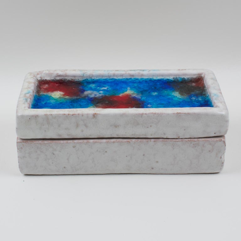 Bitossi Italy Raymor Ceramic Box Fritte Fused Glass Mosaic MCM Colors For Sale 7