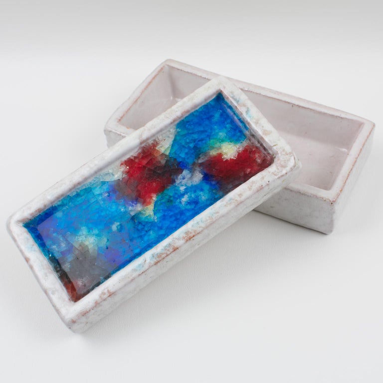 Italian Bitossi Italy Raymor Ceramic Box Fritte Fused Glass Mosaic MCM Colors For Sale
